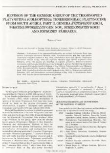 Revision of the generic group of the Trigonopoid Platynotina (Coleoptera, Tenebrionidae, Platynotini) from South Africa. Pt 2, Genera Eviropodus Koch, Warchalowskiellus gen. nov., Schledontes Koch and Zophodes Fåhraeus