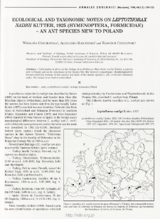 Ecological and taxonomic notes on Leptothorax nadigi Kutter, 1925 (Hymenoptera, Formicidae) - an ant species new to Poland