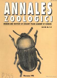 Annales Zoologici - Strony tytułowe, spis treści - t. 48, nr. 1-2 (1998)