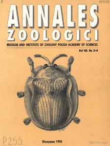 Annales Zoologici - Strony tytułowe, spis treści - t. 48, nr. 3-4 (1998)