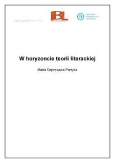 W horyzoncie teorii literackiej