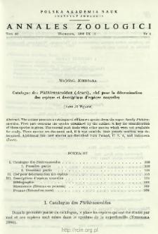Catalogue des Phthiracaroidea (Acari), clef pour la détermination des espèces et descriptions d'espèces nouvelles