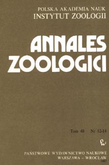 Annales Zoologici - Strony tytułowe, spis treści - t. 40, nr. 12-14 (1987)