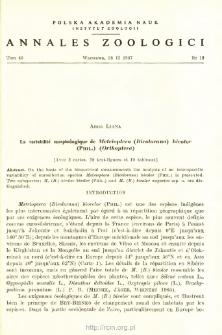 La variabilité morphologique de Metrioptera (Bicolorana) bicolor (PHIL.) (Orthoptera)