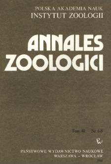 Annales Zoologici - Strony tytułowe, spis treści - t. 40, nr. 6-8 (1986)