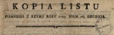 Kopia Listu Pisanego Z Rzymu Roku 1789. Dnia 26. Grudnia : [Inc.:] Do Stolicy Apostolskiey przyszły z Pułnocney [!] Ameryki radosne wiadomości, względem szerzącey się Wiary S. Katolickiey [...]