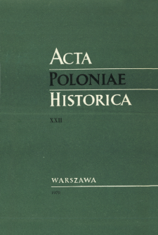 Acta Poloniae Historica T. 22 (1970), Title pages, Contents