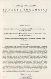Fourmis (Hymenoptera: Formicidae) d'Afghanistan récoltées par M. Dr K. LINDBERG = Mrówki (Hymenoptera: Formicidae) zebrane w Afganistanie przez dra K. LINDBERGA