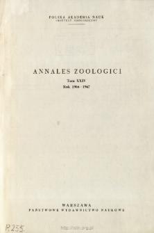 Annales Zoologici - Strony tytułowe, spis treści - t. 24 (1966-1967)