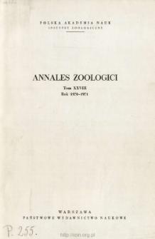 Annales Zoologici - Strony tytułowe, spis treści - t. 28 (1970-1971)