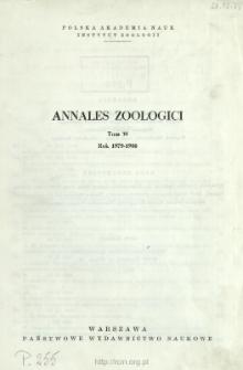 Annales Zoologici - Strony tytułowe, spis treści - t. 35 (1979-1980)
