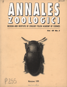 Annales Zoologici - Strony tytułowe, spis treści - t. 49, nr 3 (1999)