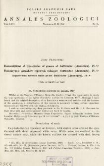 Redescriptions of type-species of genera of Salticidae (Araneida). IV-V = Redeskrypcje gatunków typowych rodzajów Salticidae (Araneida). IV-V