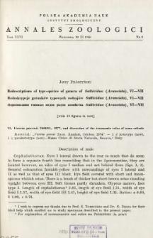 Redescriptions of type-species of genera of Salticidae (Araneida). VI-VII = Redeskrypcje gatunków typowych rodzajów Salticidae (Araneida). VI-VII
