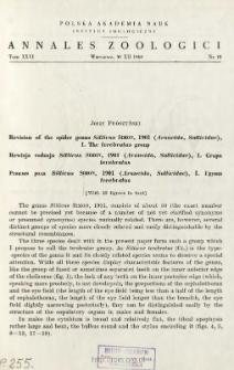 Revision of the spider genus Sitticus SIMON, 1901 (Araneida, Salticidae). I, The terebratus group = Rewizja rodzaju Sitticus SIMON, 1901 (Araneida, Salticidae). I, Grupa terebratus