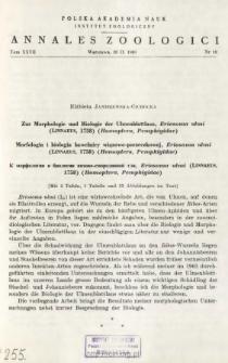Zur Morphologie und Biologie der Ulmenblattlaus, Eriosoma ulmi (LINNAEUS, 1758) (Homoptera, Pemphigidae) = Morfologia i biologia bawełnicy wiązowo-porzeczkowej, Eriosoma ulmi (LINNAEUS, 1758) (Homoptera, Pemphigidae)
