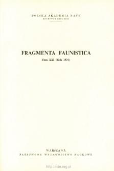 Fragmenta Faunistica - Strony tytułowe, spis treści - t. 21, nr. 1-13 (1976)