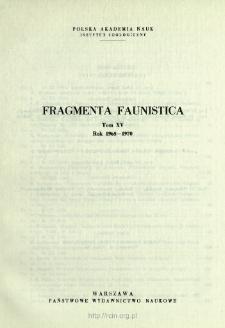 Fragmenta Faunistica - Strony tytułowe, spis treści - t. 15, nr. 1-22 (1968-1970)