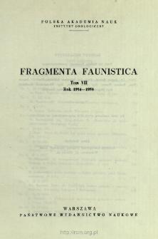 Fragmenta Faunistica - Strony tytułowe, spis treści - t. 7, nr. 1-15 (1954-1958)