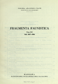 Fragmenta Faunistica - Strony tytułowe, spis treści - t. 12, nr. 1-26 (1965-1966)