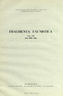 Fragmenta Faunistica - Strony tytułowe, spis treści - t. 8, nr. 1-39 (1958-1961)