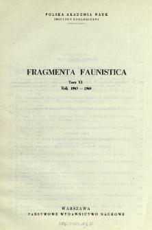 Fragmenta Faunistica - Strony tytułowe, spis treści - t. 11, nr. 1-28 (1963-1965)