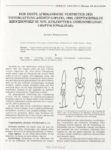 Der erste afrikanische Vertreter der Untergattung Asionus Lopatin, 1988, Cryptocephalus mroczkowskii sp. nov. (Coleoptera: Chrysomelidae: Cryptocephalinae)