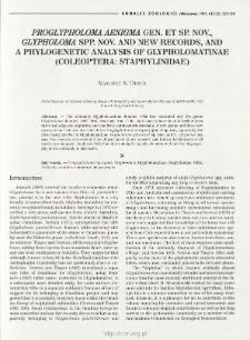 Proglypholoma aenigma gen. et sp. nov., Glypholoma spp. nov. and new records, and a phylogenetic analysis of Glypholomatinae (Coleoptera: Staphylinidae)