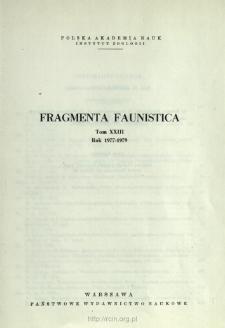 Fragmenta Faunistica - Strony tytułowe, spis treści - t. 23, nr. 1-17 (1977-1979)