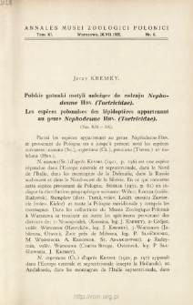 Les espèces polonaises des lépidoptères appartenant au genre Nephodesme Hbn. (Tortricidae) = Polskie gatunki motyli należące do rodzaju Nephodesme Hbn. (Tortricidae)