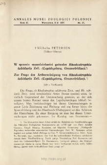 Zur Frage der Artberechtigung von Rhodostrophia tabidaria Zell. (Lepidoptera, Geometridae) = W sprawie samodzielności gatunku Rhodostrophia tabidaria Zell. (Lepidoptera, Geometridae)