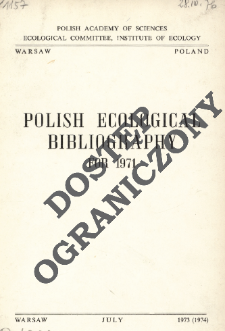 Polish Ecological Bibliography for 1971 (1973-1974)