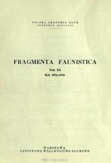 Fragmenta Faunistica - Strony tytułowe, spis treści - t. 20, nr. 1-25 (1974-1976)