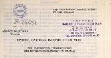 Epoche, Gattung, individueller Wert : zur empirischen Stilgeschichte des mittelniderländischen Dramas