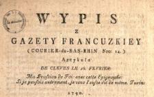 Wypis Z Gazety Francuzkiey (Courier-du-Bas-Rhin Nro 14.) Artykułu De Cleves, Le 16. Fevrier: Ma Profsion de Foi avec cette Epigraphe: Si je peufois autrement, je vous l'eusse dit de même. Turin, 1790