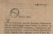 """[Informacja o wydawaniu """"Gazette de Varsovie""""] : [Inc.:] Auri sacra fames: telle est sans doute [...] : [Dat.:] ce 10 7bre 1791"""