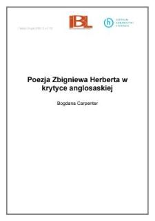 Poezja Zbigniewa Herberta w krytyce anglosaskiej
