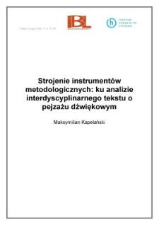 Strojenie instrumentów metodologicznych: ku analizie interdyscyplinarnego tekstu o pejzażu dźwiękowym