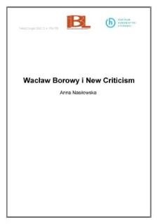 Wacław Borowy i New Criticism