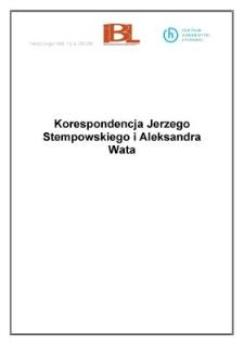 Korespondencja Jerzego Stempowskiego i Aleksandra Wata
