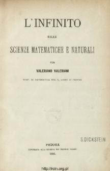 L' infinito nelle scienze matematiche e naturali