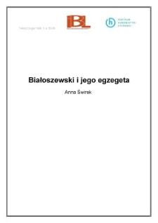 Białoszewski i jego egzegeta