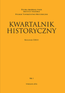 Kwartalnik Historyczny R. 123 nr 1 (2016), Title pages, Contents