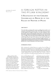 A Foreign Potter in the Pylian Kingdom? A Reanalysis of the Ceramic Assemblage of Room 60 at the Palace of Nestor in Pylos