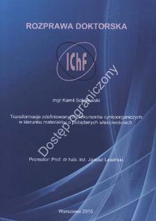 Transformacje zdefiniowanych prekursorów cynkoorganicznych w kierunku materiałów o pożądanych właściwościach