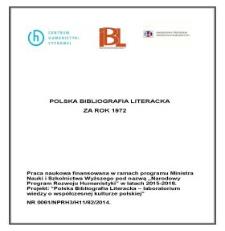 Polska Bibliografia Literacka za rok 1972