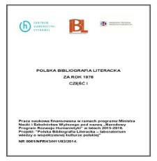 Polska Bibliografia Literacka za rok 1978, część I