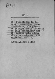 Kartoteka Słownika języka polskiego XVII i 1. połowy XVIII wieku; Ale