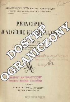 Principes d'algèbre et d'analyse