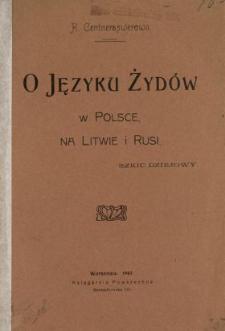 O języku Żydów w Polsce, na Litwie i Rusi : szkic dziejowy